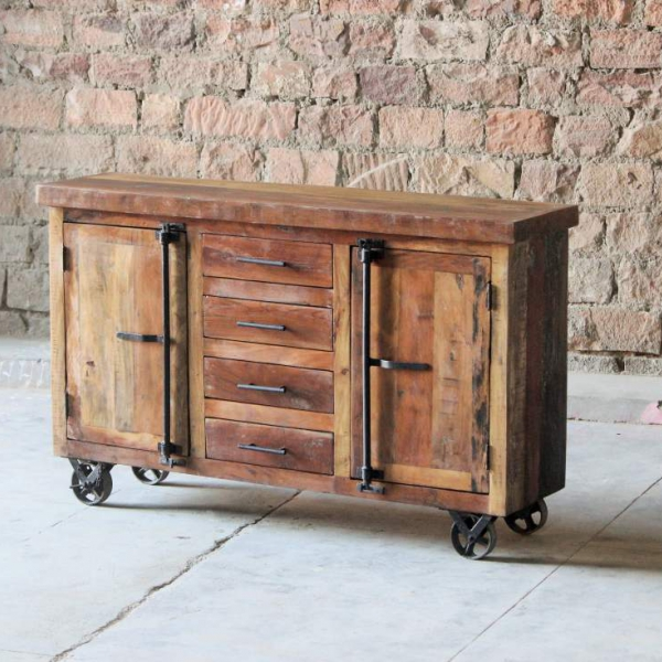 Hyatt-Canning Industrial Sideboard on Wheels