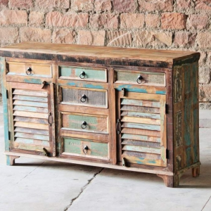 Mary Rose Upcycled 6 Drawer 2 Slatted Door Sideboard