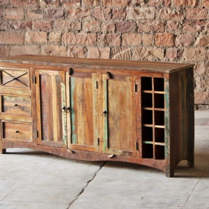 Riya Upcycled 3 Door 3 Drawer Wine Rack